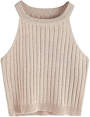 Material: Acrylic + Spandex,surper soft stretchy and comfortable. Halter knit top for women , womens basic sweater, featuring with sleeveless, high neck/halter neck and ribbed design. Basic shirt top for women/juniors, can goes with everything: can p...