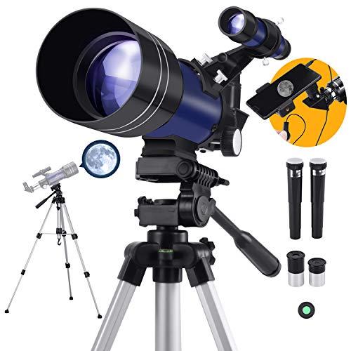 Astronómico Telescopio para Niños y Principiante, 300/70 Refractor Telescopio con Trípode Adaptador para Teléfono Ffiltro Lunar para Regalo de Navidad