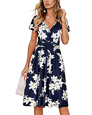 Short sleeve, v-neck, A-line, floral patterned with both side pockets design, breathable, skin-touch, makes you feeling relaxed and comfortable. This v-neck pattern dress cut simply and knee length, with simple wrap waist design, and useful for nearl...