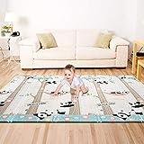 Bammax Tapis de Jeu pour Bébé,Tapis d'éveil Enfant,tapis bébé pliable matériau XPE Non Toxique Tapis enfant avec Motif de Pandas,197 x 177 x 1,5 cm
