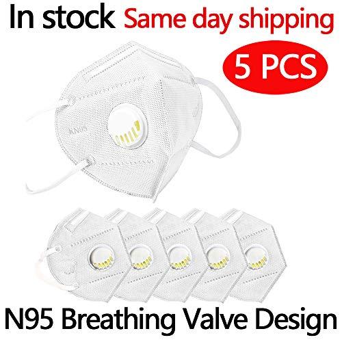 5 pcs Safety KN95 FFP2/PM2.5, con valvola di respirazione, adatto per molte occasioni, adulti uomini e donne Protezione personale