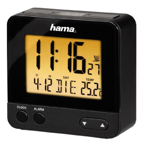 Hama 113965 Wecker Digital RC540 (kleiner Funkwecker ohne ticken, digitaler Reisewecker, Funkuhr mit Licht, inkl. Batterie) schwarz