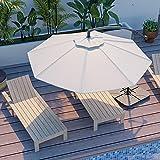 JEAREY 10ft Outdoor Umbrella Backyard Offset Patio Umbrella Cantilever Umbrella Hanging Market Garden Umbrellas with Crank & Cross Base