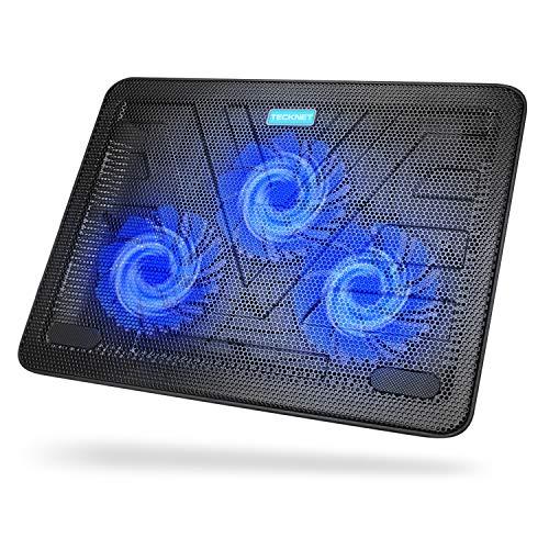 TECKNET Refroidisseurs PC Portable Ordinateur de 12 à 17 Pouces Silencieux Support Ventilé pour Ordinateur Portable avec 2 Ports USB, 3 Ventilateurs de 110mm, Alimenté Via USB