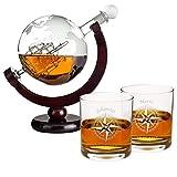 Whiskykaraffe im Globus Design + 2 Gläser mit Personalisierung: Geschenkset aus Whiskyflasche in Weltkugel Form und hochwertigen Whiskygläsern mit Namensgravur - Dekanter aus Glas mit Segelschiff