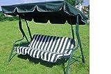 Loywe Hollywoodschaukel Gartenschaukel Schaukelbank 3-Sitzer mit Dach Stahlgestell,Grün 170x115x156cm LW12 - 2