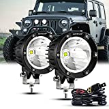 Auxbeam 4 Inch Round Driving Lights, Offroad LED Light Pods 36W Spot Lights LED Work Fog Lights with Wiring Harness Fit for Jeep Vehicle Truck SVU Motorcycle UTV (White Beam)