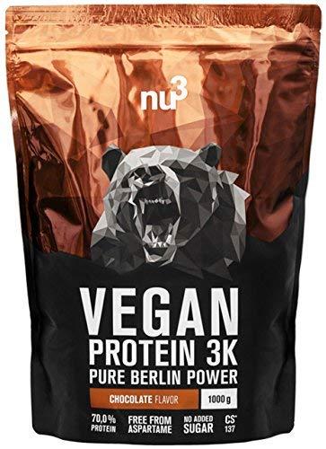 nu3 Protéines Vegan 3K 1kg - Chocolat - 71% de Protéines à base de 3 composants végétaux - Protéine végétale pour prise de masse musculaire - Excellente alternative à la whey protein chocolat