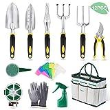 YISSVIC Herramientas de Jardn 12Pcs Kit de Jardinera Juegos de Herramientas con Organizador Bolsa