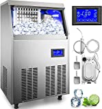 VEVOR 110V Commercial ice Maker 90-100LBS/24H with 33LBS Bin and Electric Water Drain Pump, Clear Cube, Stainless Steel Construction, Auto Operation, Include Water Filter 2 Scoops and Connection Hose