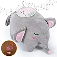 🐘15 Soothing Lullabies: The baby soother is designed with 15 soothing sounds, including 11 lullabies, mama's heartbeat, rain sound, shush and birds singing. Helps kids and adults to fall asleep faster and sleep sounder. 🐘Star Projector Night Light: T...