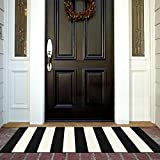 Black and White Outdoor Rug Runner Doormat 24'' x 51'', Collive Cotton Woven Porch Rug Farmhouse Striped Outdoor Indoor Rugs, Washable Door Mat for Porch Layered Kitchen Bathroom Laundry Room