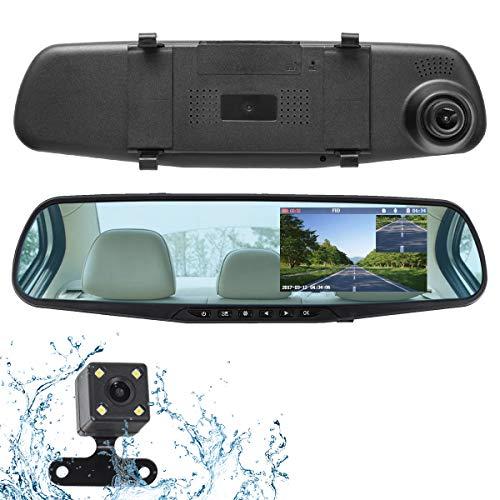 ドライブレコーダー 前後カメラ バックカメラ ミラー型 ミラーモニター 4.3インチ 1080P 500万画素 Full HD...
