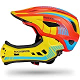 ROCK BROS Kids Bike Helmet Toddler Full Face Helmet Detachable Ultralight Mountain Bike Cycling Helmet for BMX Bicycle Skateboard Scooter Child Safety Helmet (Orange Yellow, S(19.7-21.3inch))