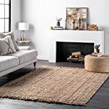 nuLOOM Natura Collection Chunky Loop Jute Rug, 7' 6' x 9' 6', Natural, 6' 6'