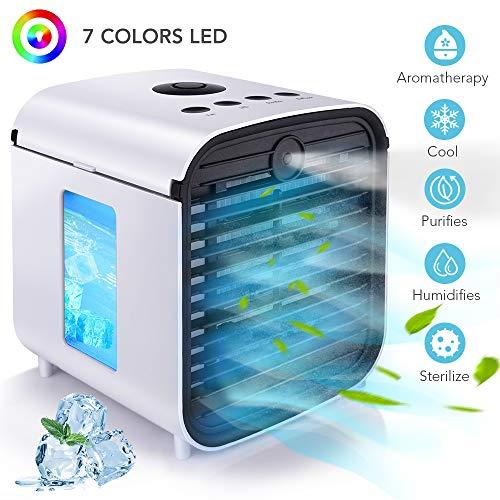 HISOME Mini Condizionatore Portatile Personale Air Cooler 5-in-1 Refrigeratore D'aria Umidificatore...