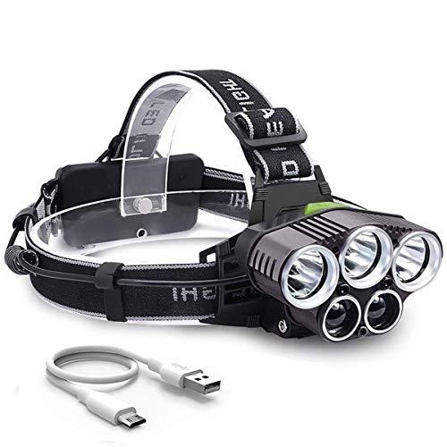 Seedary Linterna LED Frontal Lámpara Led para Cabeza USB recargable, 8000LM, 5 Modos Luz de...