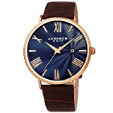 Akribos XXIV Men's Watch – Crocodile Embossed Genuine Leather Brown Band – Classic Round Case, Roman Numeral Markers, Guilloche Dial - AK1041RGBU