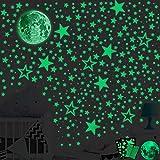 SaiXuan 435pcs Luminoso Pegatinas de Pared,Puntos Luna y Estrellas Adhesivos Decorativo de Pared...