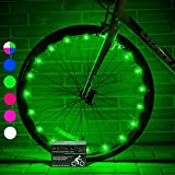 Activ Life Wheel Lights (2 Tires, Green) Fun Bicycle Spoke Wire & Bike Frame Safety String Lights - Best Wheelchair & Top Baby Stroller Accessory for Men Women Children Boyfriend and Teenage Workouts
