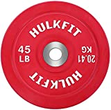 HulkFit Color Coded Olympic 2-Inch Rubber Bumper Plate with Steel Hub for Strength Training, Weightlifting and Crossfit, Single (45 Pounds), Red