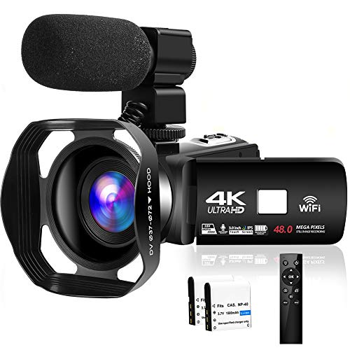 Camcorder Video Camera 4K 48MP WiFi YouTube Camera Night Vision Camcorder Blogging Camera 18X...
