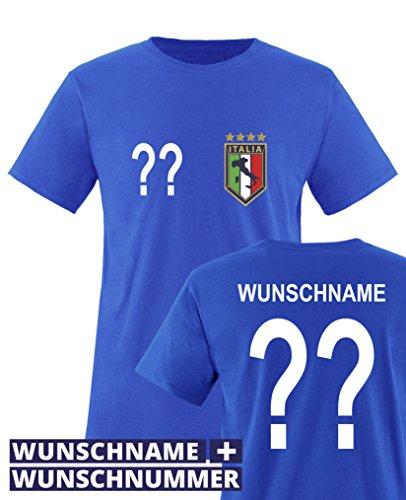 Comedy Shirts - WM 2014 - Italien - Wunsch - Kinder T-Shirt - Royalblau Gr. 134-146