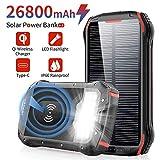 Slols Chargeur Solaire 26800mAh Batterie Externe Portable QI Power Bank...
