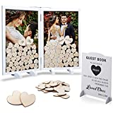 GLM Wedding Guest Book Alternative, Drop Top Wooden Frame with 160 Hearts, 4 Large Hearts, and Sign, Rustic Wedding Decorations for Reception, Baby Shower, and Funeral Guest Books (White)