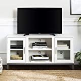 Walker Edison Furniture Company Modern Glass and Wood Fireplace Universal Stand with Open TV's up to 58' Flat Screen Living Room Storage Entertainment Center, White