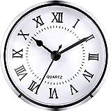 Hicarer 3-1/2 Inch (90 mm) Quartz Clock Fit-up/Insert with Roman Numeral, Quartz Movement (Silver Trim)