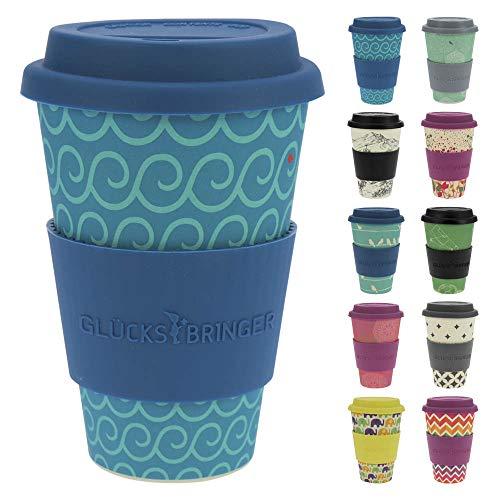 ebos Fortuna caffè-a-Go Tazze di bambù | Tazze di caffè, Tazze di Bevanda | degradabili nell'ambiente, riciclabile, Ecologico | Cibo Sicuro, Lavabile in lavastoviglie (Dark Stripes)