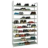 KIKIONLIFE Grey 5 8 10 Tiers Shoe Rack 25 40 50 Pairs Non-Woven Fabric Shoe Tower Storage Organizer...