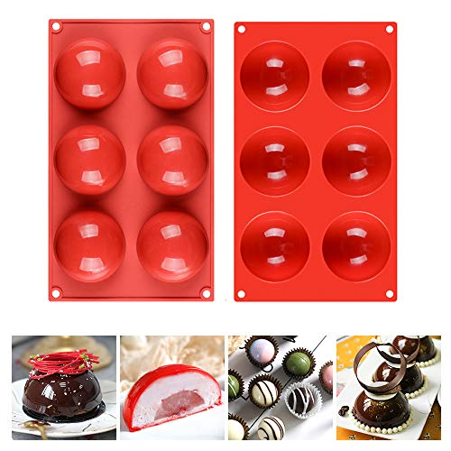 6 Holes Half Sphere Silicone Mold For Chocolate - Round Shape, Dia: 3 inches