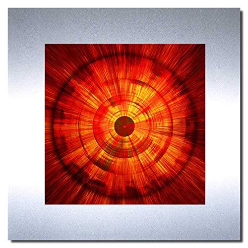 Bild auf Metall - FIRE - abstrakte Bilder Moderne Kunst - Metallbild Limitierte Edition Wandschmuck Aluminium im Edelstahl-Design - Wandverzierung Wandbild