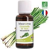 Huile Essentielle de Citronnelle de Java Bio Mearome - 30 ml - 100% Pure et Naturelle - HEBBD - HECT - Distillée en France - répulsif insectes (anti-moustiques) naturel