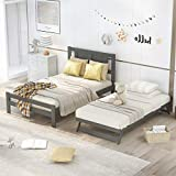 Harper & Bright Designs Full Bed Frame with Adjustable Trundle Bed,Full Size Platform Bed Frame with Headboard , Easily Convertible to 2 Beds for Bedroom ,Living Room, Wood Bed Frame ,Gray