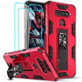 LeYi Compatible for LG K51 Phone Case, LG Reflect/LG Q51 Case with Tempered Glass Screen Protector [2 Pack], Military-Grade Shockproof Built-in Kickstand Car Mount Protective Case for LG K51, Red