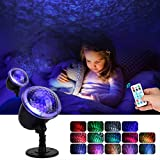 Night Light Projector for Kids, KINGWILL Ocean Wave Projector Light with Ripple RGB 3D Water Effect, Remote Control Nursery Lamp Waterproof for Bedroom Garden Wedding Party Disco