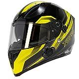 TORC Unisex-Adult Full-face Style T15B Bluetooth Integrated Motorcycle Helmet With Graphic (Gloss Black Edge HiViz Yellow, MEDIUM)