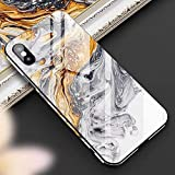 Cocomii Chamfered Edge Glass Marble iPhone XR Case, Slim Thin Glossy Soft TPU Silicone Rubber Gel Tempered Glass Back 360° Flat Rim Fashion Bumper Cover for Apple iPhone XR 6.1 Inch 2018 (Earth Gray)