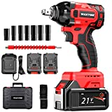 WAKYME 21V Lithium-Ion Brushless Compact Wrench 1/2 Inch, Cordless Impact Wrench with 4.0AH Battery Pack and Fast Charger, Belt clip, Carrying Case, 2-speed, 11-piece Impact Wrench Tool Kit
