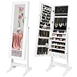 Best Choice Products Full Length Tilting Mirrored Cabinet Jewelry Armoire w/Velvet Lined Interior, 6 Shelves, Stand Rings, Necklaces Hooks, Bracelet Rod, Cubbies, Lock and Key, White