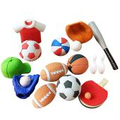 NUOBESTY 50pcs Sports Ball Erasers Pencil Erasers Miniature Soccer Basketball Football Base Ball Ornaments for Kids Birthday Party Favors Gifts (Mixed Style)