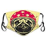 NYNELSONG Adjustable Elastic Band Mouth Covers for Women Men Kids Portrait Pug Dog Helmet Polyester Covers