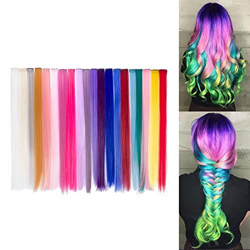 Beauty7 20pcs 20 inches Set de 20 Colores Pelucas Lacio Trenzas Color Extensiones de...