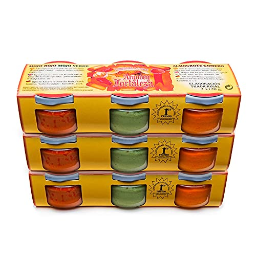 3 Packs de 3x120g : mojo verde + mojo rojo + almogrote