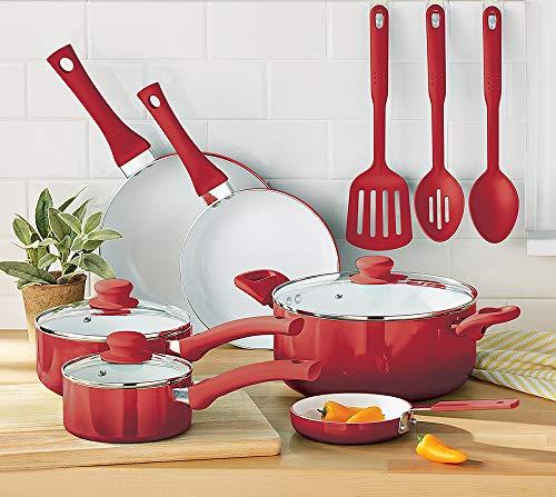 MainStays Non-Stick Ceramic Cookware Set 12 Piece - Red