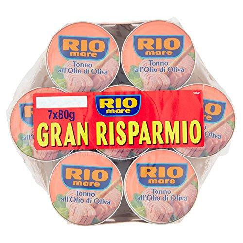 Rio Mare - Tonno all'Olio di Oliva, Qualit Pinne Gialle, 7 Lattine da 80 g