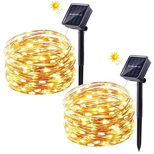 Solar Lichterkette Außen, FOCHEA 2 Stück 12M 120 LED Lichterketten Aussen Solarbetriebene, Wasserdicht Kupferdraht Weihnachtsbeleuchtung Warmweiß Lichterkette mit 8 Modi für Balkon, Garten, Bäume